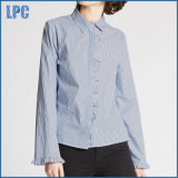 Pure Cotton Striped Ruffle Poplin Shirt