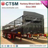 Utility Cargo Transport Tri-Axle Stake Semi Trailer with Two-Tier Fence