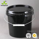 1 Gallon Black Round Plastic Bucket Pails for Paint with Metal Handle