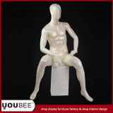 Sitting Male Fiberglass Mannequin/Manikin with Base in Color Cream