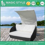 Leisure Rattan Lounge with Umbrella Patio Wicker Chaise Lounge Outdoor Lounge (Magic Style)