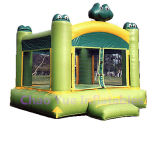Cute Frog Inflatable Jumping Castle with Bouncy Slide