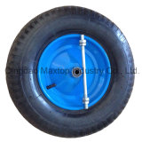 Cross Pattern Poland Market Pneumatic Rubber Wheel with Axle