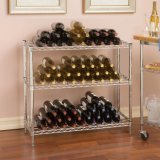 Adjustable DIY Chrome Wire Metal Wine Bottle Display Shelf