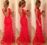 Red Sexy Backless Mermaid Maxi Party Dress