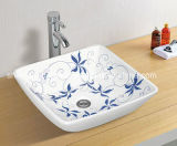 Color Ceramic Basin Bathroom Basin Square Shape (MG-0043)