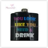 6 Ounce Liquor/Whisky Flask, Screen Print Stainless Steel Hip Flask