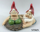 Mr & Mrs Gnome Polyresin Floating Garden Pond Ornament