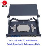 24 Cores 1u Rack Mount Patch Panel with Telescopic Rails