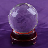 Facted Crystal Glass Ball with Wooden Base for Decoration