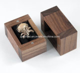 Custom Logo Small Black Walnut Wooden Ring Box