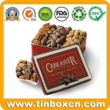 Embossed Rectangular Metal Nuts Tin Box for Gourmet Pecans