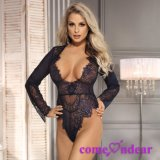 in Stock Manufacture Dark Blue Plus Size Exquisite Lace Sleeve Sexy Lingerie