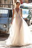 Lace Tulle Bridal Dress V-Neck Sheer Travel Beach Wedding Evening Prom Dress P68