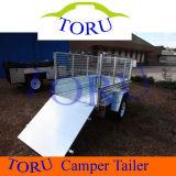 Galvanized Garden Tools ATV Dump Trailer, Single Axle 4t Box Tipper Semi Trailer for Farm Tractor Parts Kits, Steel