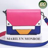 Fashion Genuine Leather Shoulder Bag Contrast Colors Sling Bags Women Handbag Emg5185