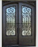 Hand-Forged Elegant Iron Front Entry Door with Transom