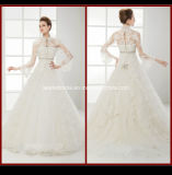 High Neck Long Sleeve Bridal Gown Lace Appliques Ball Gowns Wedding Dress Rr9004