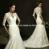 3/4 Sleeves Bridal Gowns Lace V-Neck Wedding Dresses H13440