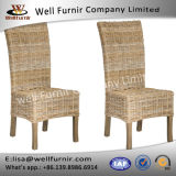 Well Furnir Wood Frame Natural Unfinished Look 2 PCS Casual Wicker Dining Side Chairs Sets