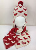 Yonger Winter Hoodie Baby Girls Boys Kid Hat Wool Knitted Crochet Beanie Cap Heart Print Scarf Set (HW604S)