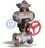 Double Acting/Spring Return Pneumatic Flanged Ball Valve