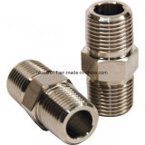 CNC Machined Stainless Steel Male Thread Hex Nipple