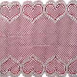 Elastic White Knitted Heart Elastic Lace Nylon Fabric