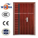 Europ Brown Color Easy Design Entrance Security Steel Door (W-SZ-06)