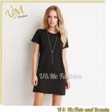Dailyl Loose Big Size Women Cotton Long T-Shirt Black Dress