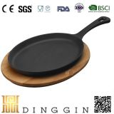 Cast Iron Fajita Pan with Wooden Base