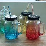 Colored Handle Glass Drinking Bottle/ Glass Container
