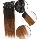 Highlights on Blond Color Human Hair Clip on Hair Extensions