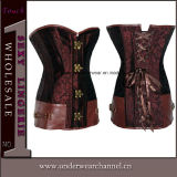 Plus Size Floral Leather Bustier Sexy Underwear Corset Set (5273)