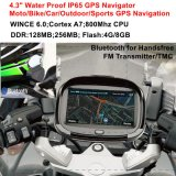 "New Factory Waterproof 4.3"" Motorcycle Bike Car GPS Navigator Built-in 66 Channel Handheld GPS, 800MHz Cortext-A7, Bluetooth, Sat Nav"