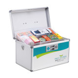Silver Color Metal Lockable First Aid Box with Shoulder Strap