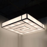 Brushed Stainless Steel and White Acrylic Fabric Ceiling Lamp at Bar Lounge