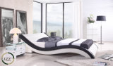 King Size Wooden Leather Bed Set with Bedding
