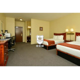Red Cherry Wood Modern Twin Bed Hotel Room Furniture