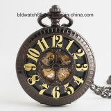 Hot Antique Black Mechanical Pocket Watch with Chain