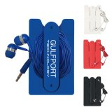 Best Price Logo Printed Ear Buds and Phone Wallet Kit for Smartphone