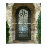 Copper Finished Wrought Iron Single Front Door with Water Cubic Glass