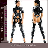 Wholesale Sexy Woman Leather Bodysuit Catsuit Costume Lingerie (TGWP18)