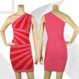 Stripe Collarless Summer Single-Shoulder Night Club Skirt