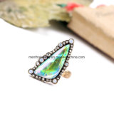 Fashion Cool Diamond and Irregular Gemstone Studded Alloy Finger Ring for Women