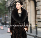 2015 Hot Selling Genuine Mink Fur Coat with Fox Fur Collar