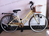 """26"""" Alloy Frame City Bicycle City Bike for Lady with Basket and Rear Carrier (HC-LB-09437)"""