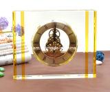 Custom Crystal Glass Desk Clock Craft for Decoration