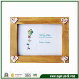 Eco-Friendly Brown Wooden Gift Picture Frame with Heart Patterns