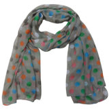Lady Fashion Colorful Dots Printed Polyester Voile Scarf (YKY4210)